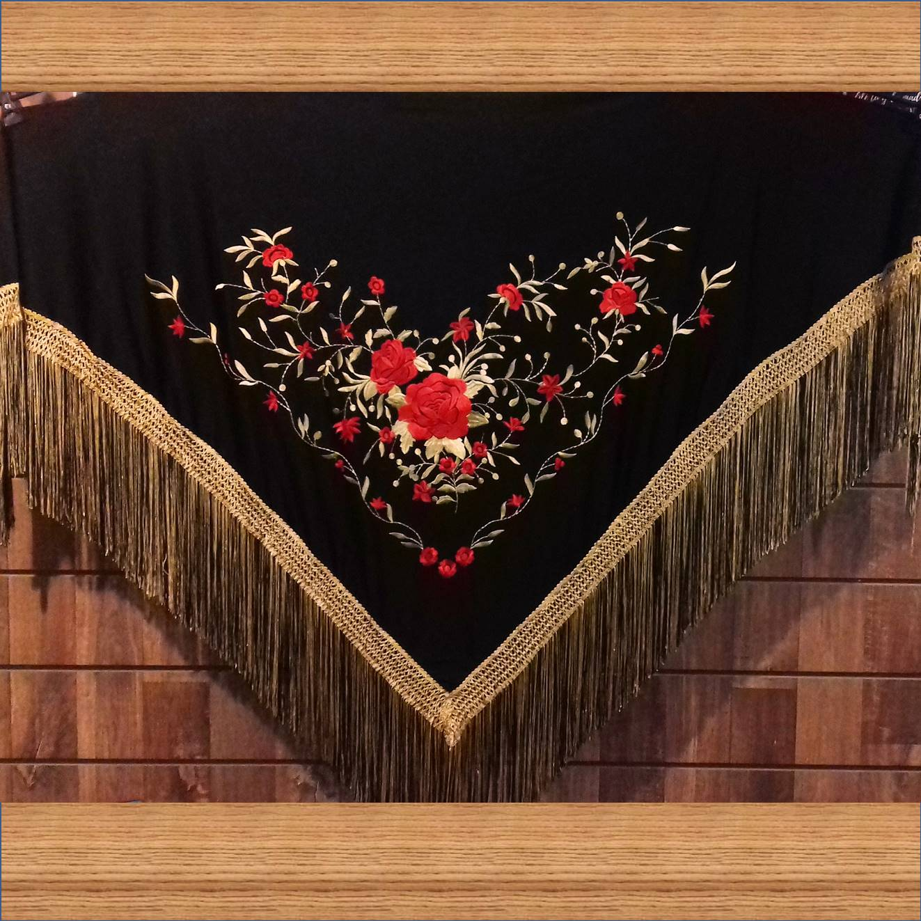 XALE ESPANHOL grande bordado 190x90cm flamenco preto dourado vermelho