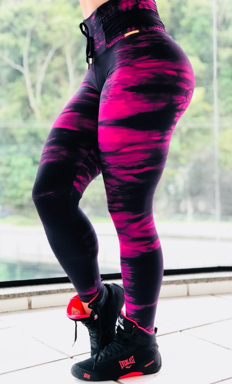 LEGGING BLACK AND PINK CÓS DRAPEAD