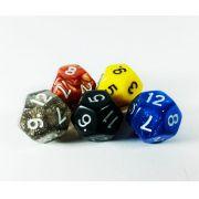 Conjunto 5 dados RPG D12 lados com bag Magic DeD
