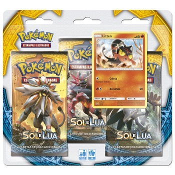 Pokemon Blister Triple Pack Sol e Lua Litten Copag 97433  - Place Games