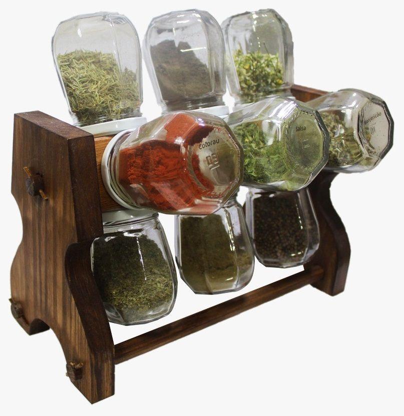 Porta temperos condimentos girat rio em madeira 12 potes for O que e porta condimentos