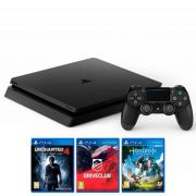 Console Playstation 4 Slim De 500gb Sony Cuh-2116a Bivolt + 3 Jogos - Jet Black