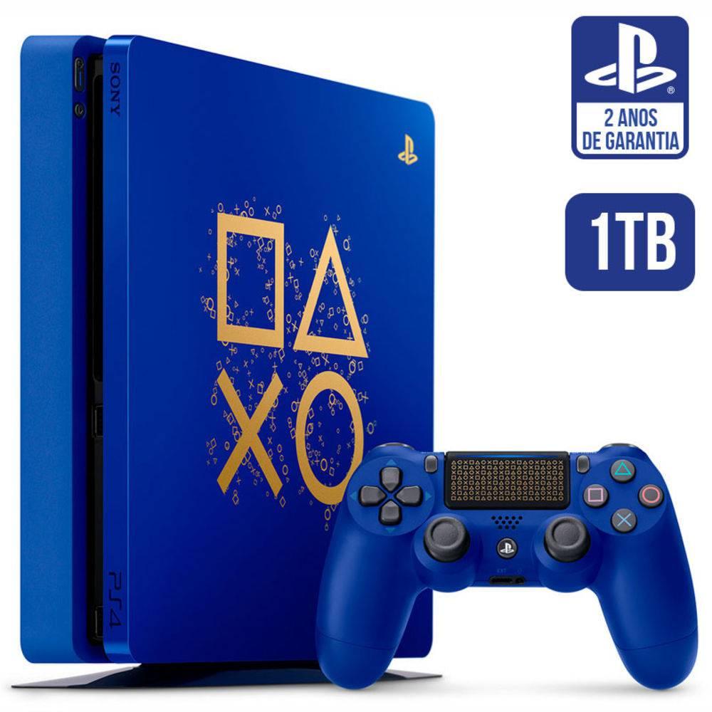 Console Playstation 4 Slim 1tb Ps4 Edição Especial Days Of Play Azul - Sony