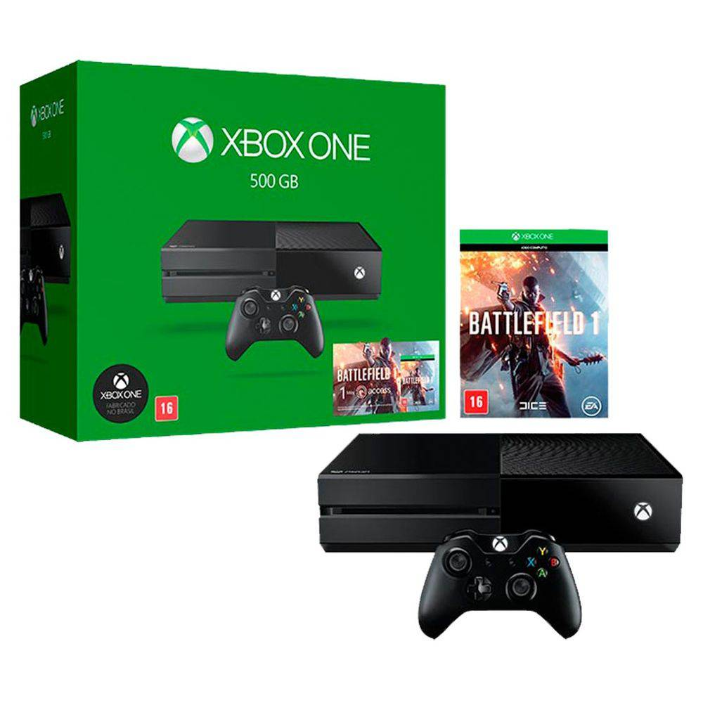 Console Xbox One Com 500gb + Controle Sem Fio + Battlefield 1