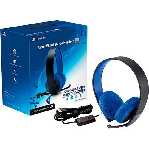Headset Silver Wired Stereo - Ps3/Ps4