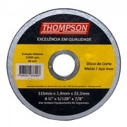 DISCO DE CORTE INOX 115 4.1/2x1,0mm - THOMPSON