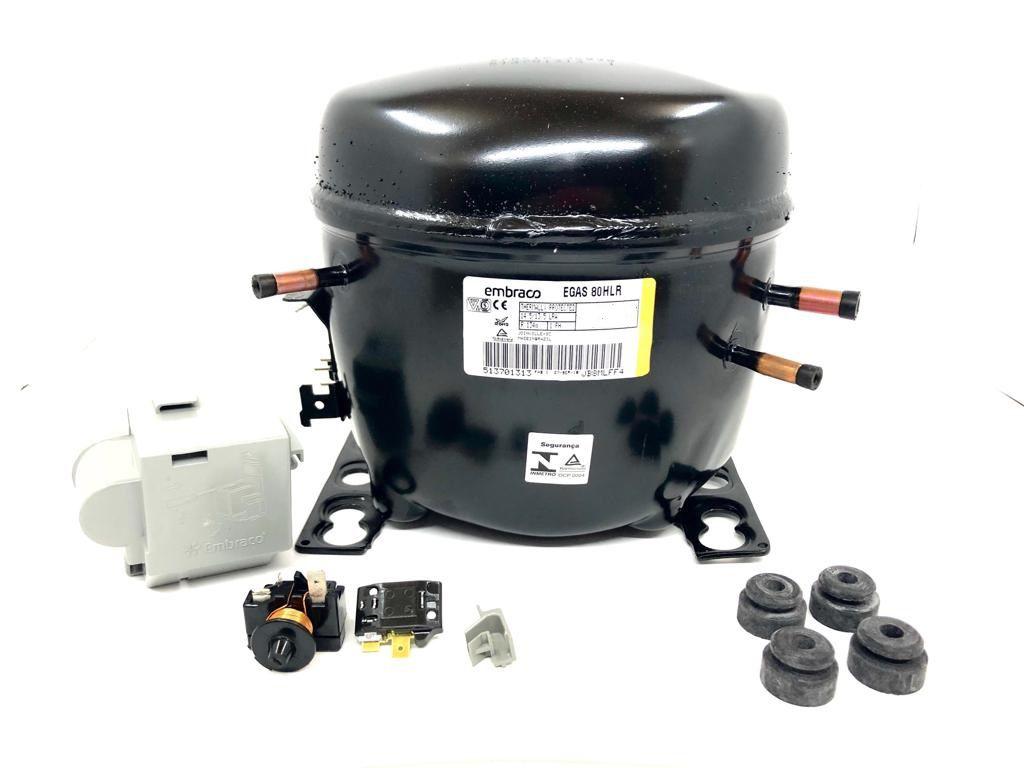 COMPRESSOR EMBRACO - 1/4+HP - 220V - R134-A  SEM RESF. (EGAS80HLR)