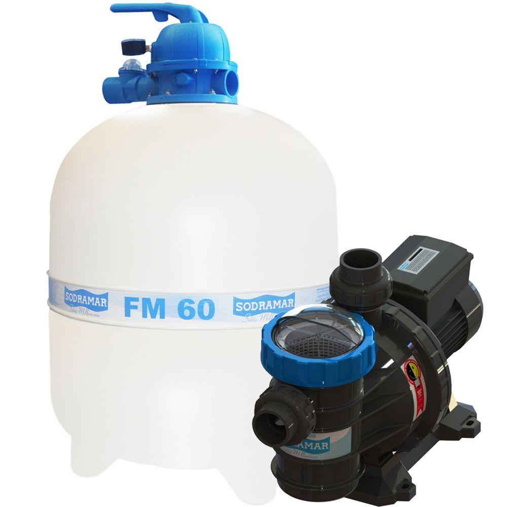 CONJUNTO FILTRANTE PARA PISCINAS SODRAMAR FM-60 E BOMBA BMC 100