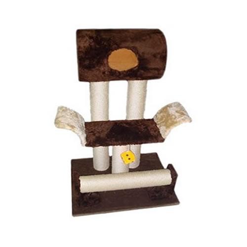 Arranhador com tubo e mini sofá tons de marrom