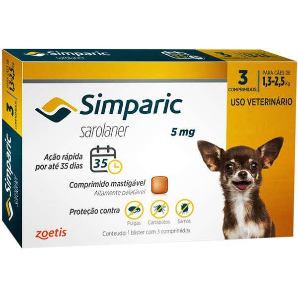 Combo Simparic 5mg (1,3Kg a 2,5Kg)