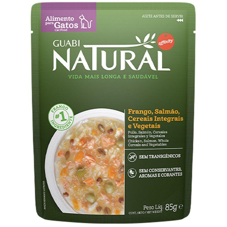 Guabi Natural sachê Gato Adulto Frango, Salmão, Cereais e Vegetais 85g