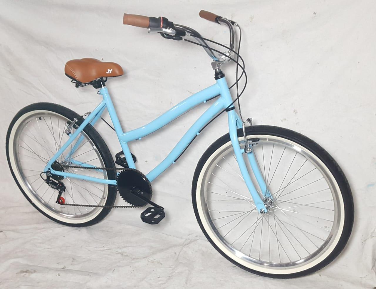 Bicicleta Aro 26 Caiçara Vintage Retrô Feminina Com Marcha e Cesta