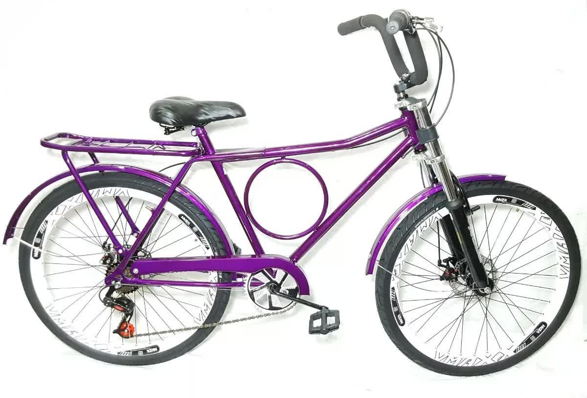 Bicicleta Barra Forte C/ 7 Marchas Vmax + Freio A Disco