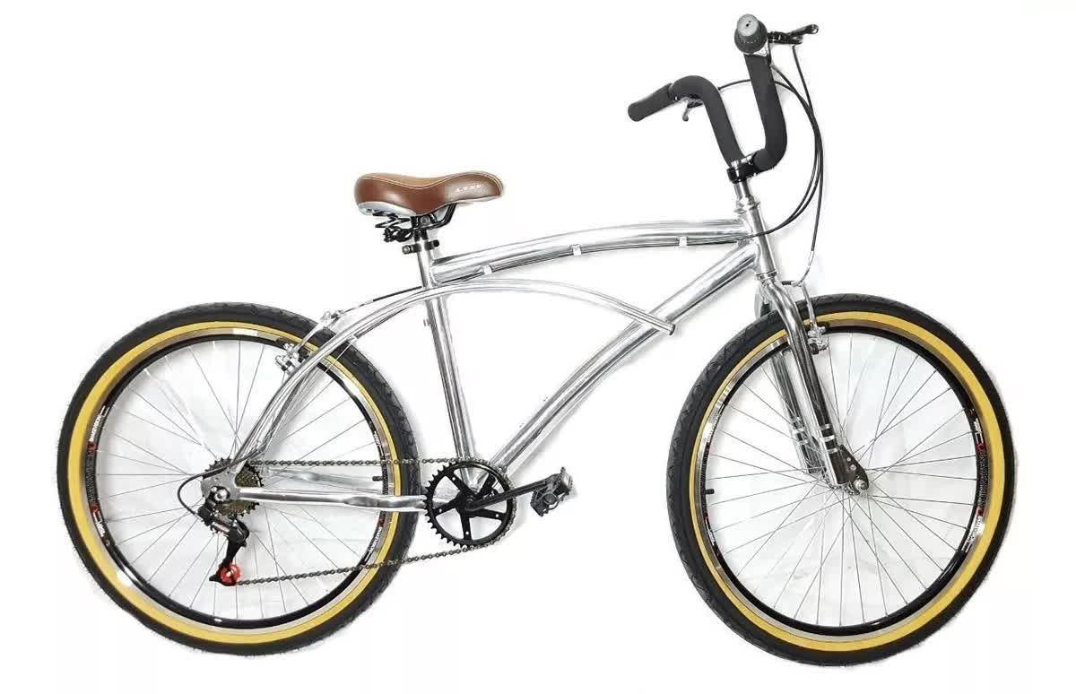 Bicicleta Beach Caiçara Praiana Retrô De Alumínio Inox