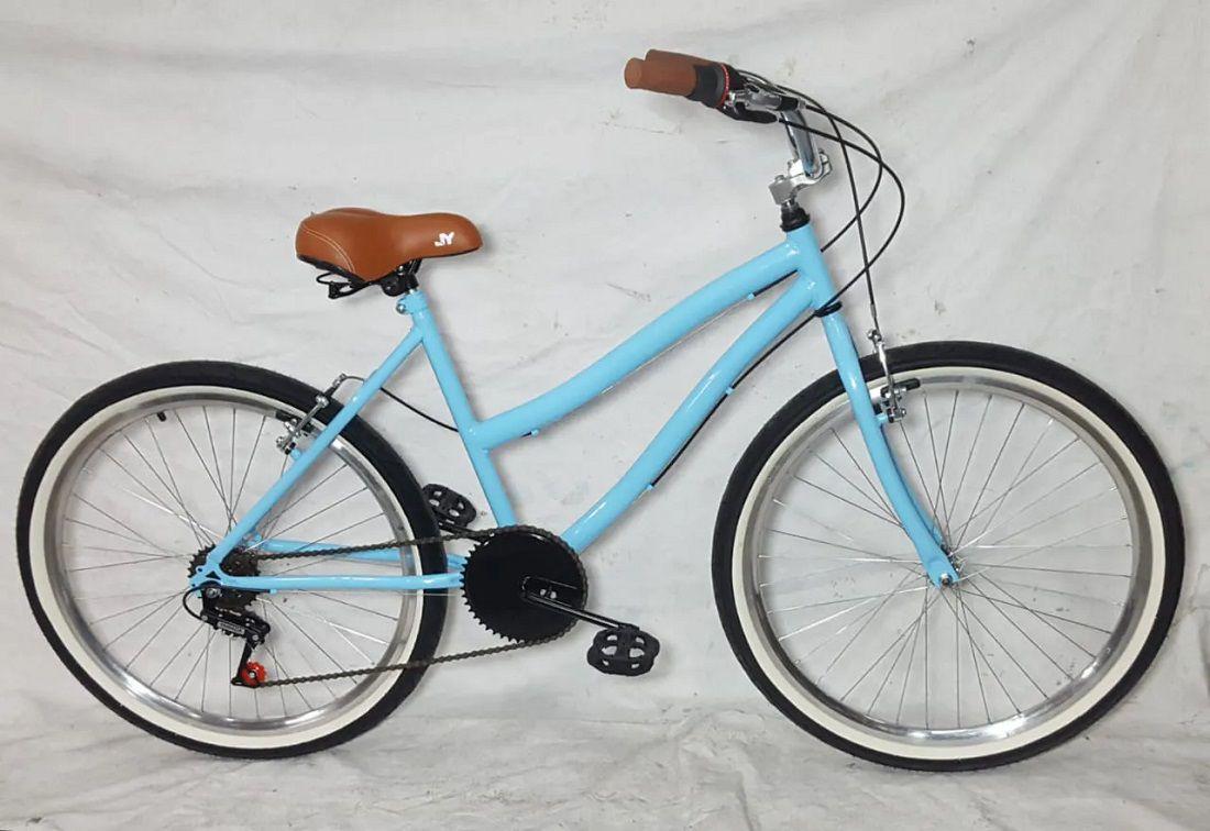 Bicicleta Aro 26 Caiçara Vintage Retrô Feminina Com Marcha e Cesta de Vime