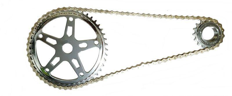Corrente Para Bike Fixa Sem Marcha Grossa Cromada 114 Elos