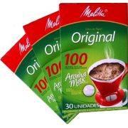 Coador de papel Melitta nº 100 - 3 caixas c/ 30 unidades cada
