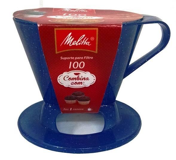 Suporte Melitta para coador pequeno - Nº100 Azul Translúcido com Glitter