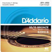 ENCORDOAMENTO PARA VIOLÃO AÇO LIGHT EZ910-B+PL011 (C0RDA MI EXTRA) - DADDARIO