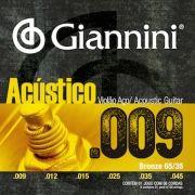 ENCORDOAMENTO PARA VIOLÃO AÇO, SÉRIE ACÚSTICO, REVESTIMENTO BRONZE 65/35 0.009 - GESWAL - GIANNINI