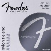 Encordoamento para Violão Nylon 0.028 100 CLEAR Prata Pura FENDER