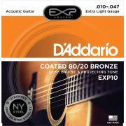 ENCORDOAMENTO VIOLÃO AÇO EXP10 BRONZE 80/20 010 - DADDARIO