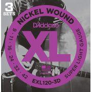 KIT C/3 ENCORDOAMENTOS GUITARRA EXL120-3D 009 - DADDARIO