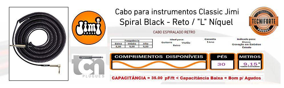 CABO P/ GUITARRA ESPIRAL JIMI COIL 30FT IL PRETO  TECNIFORTE