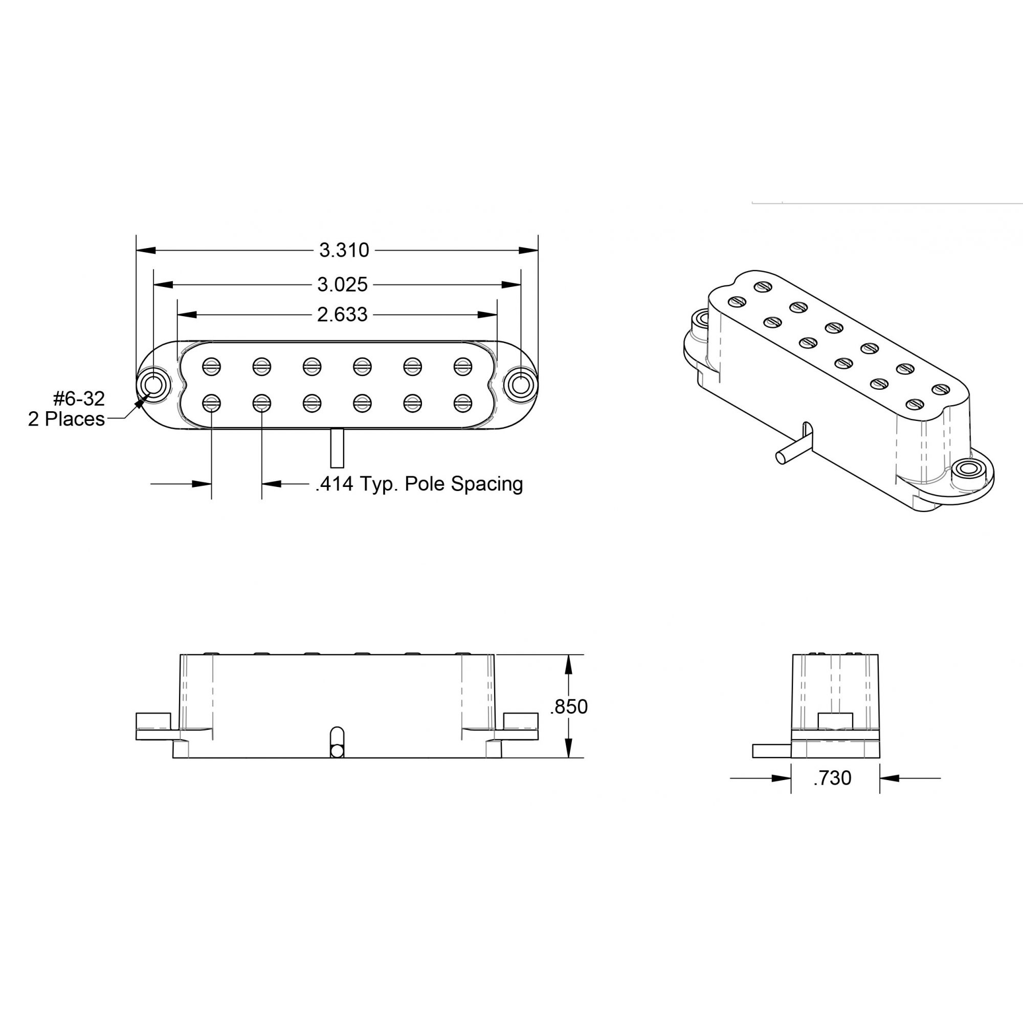 Captador mini Humbucker Little 59 for Strat White 11205-22-WSL59-1b Ponte - SEYMOUR DUNCAN