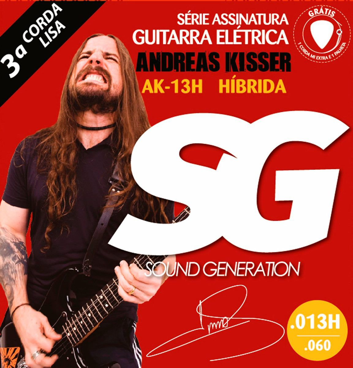 ENCORDOAMENTO. ANDREAS KISSER AK13H P/GUITARRA HIBRIDO - SG