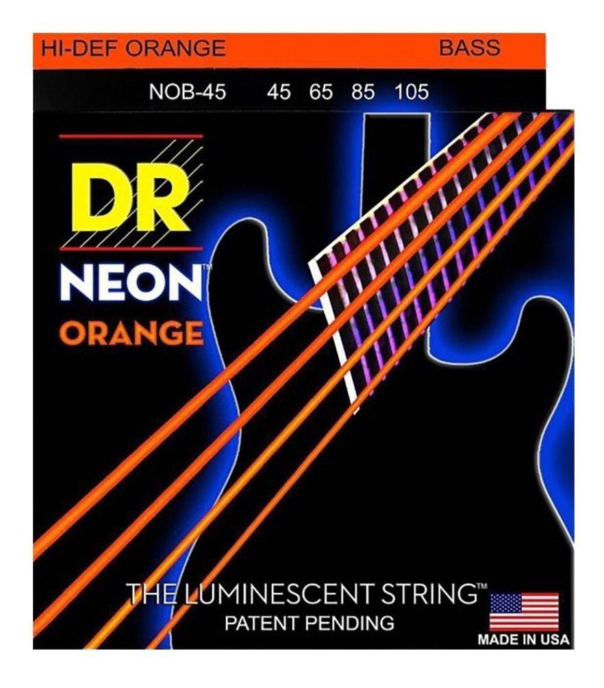 ENCORDOAMENTO BAIXO 4 CORDAS Hi-Def NEON LARANJA 0.45 NOB-45 - DR STRINGS