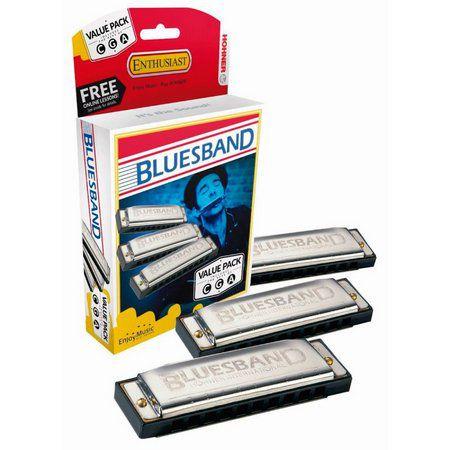 KIT COM 3 GAITAS HARMÔNICAS BLUES BAND 559/20 (A, C, G) - M559XP - HOHNER