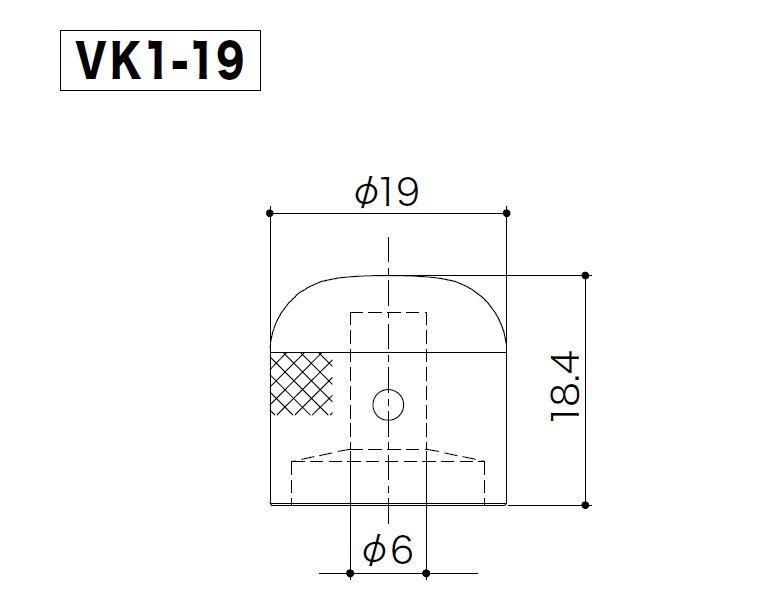 KNOB DE METAL VK1-19 COSMO BLACK GOTOH