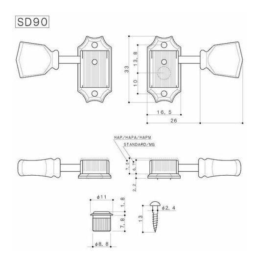 TARRAXA COM TRAVA P/ GUITARRA SD90SL-MGT NIQUEL - GOTOH