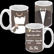 Kit com 10 canecas de porcelana personalizada para casamento