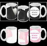 Kit com 10 canecas de porcelana personalizada para padrinhos de casamento
