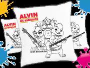 Kit com 10 Almofadas para Colorir e Pintar Personalizada Alvin e os Esquilos