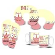 Kit para a Mamãe Coruja - Almofada de Pescoço + Chinelo + Caneca Porcelana