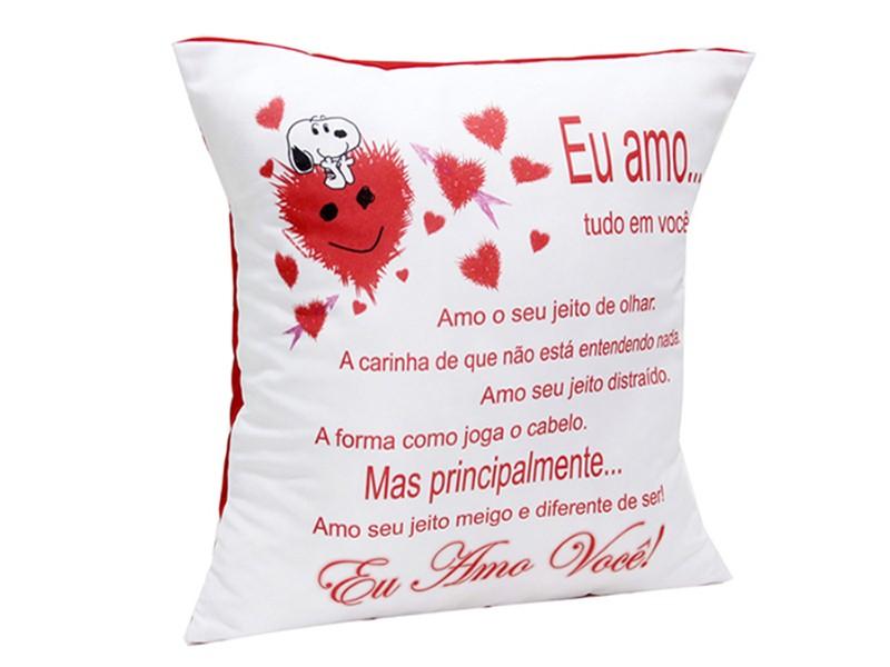 Almofada Quadrada Personalizada Namorados Amo Tudo em Você