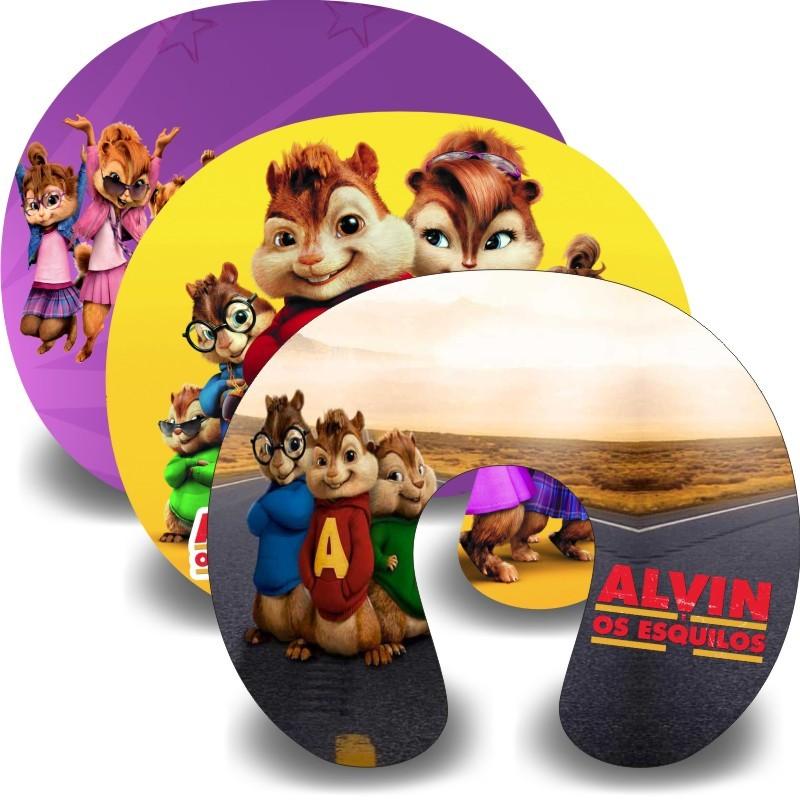 Kit com 10 almofadas de pescoço infantil Personalizadas Alvin e os esquilos