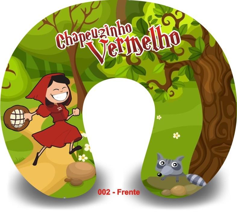 Kit com 10 Almofadas de Pescoço Lembrancinha Personalizada Chapéuzinho Vermelho