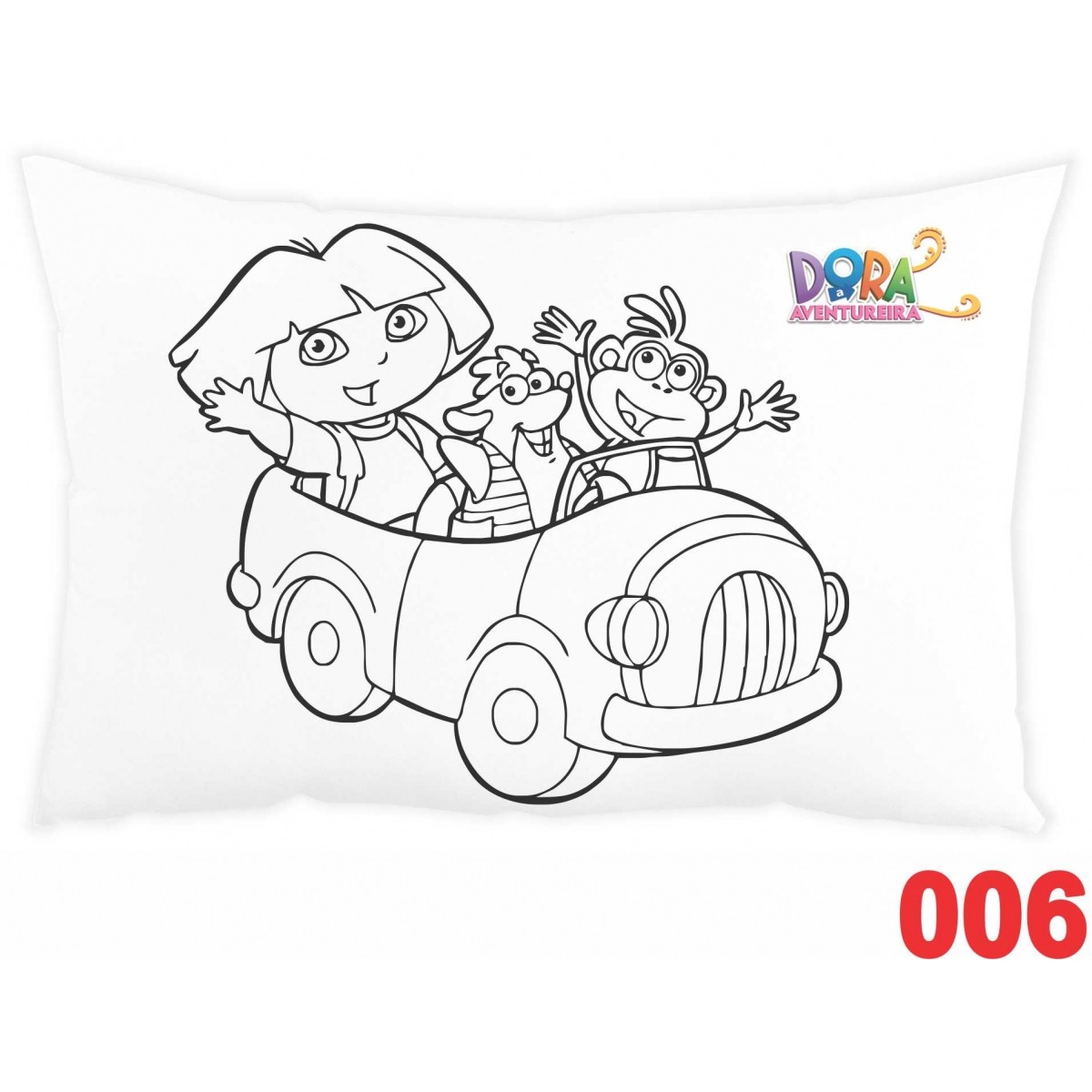 Kit com 10 Almofadas para Colorir e Pintar Personalizada Dora Aventureira