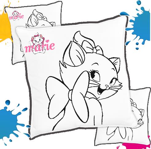 Kit com 10 Almofadas para Colorir e Pintar Personalizada Gatinha Marie