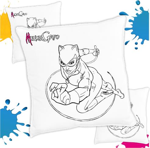 Kit com 10 Almofadas para Colorir e Pintar Personalizada Mulher Gato
