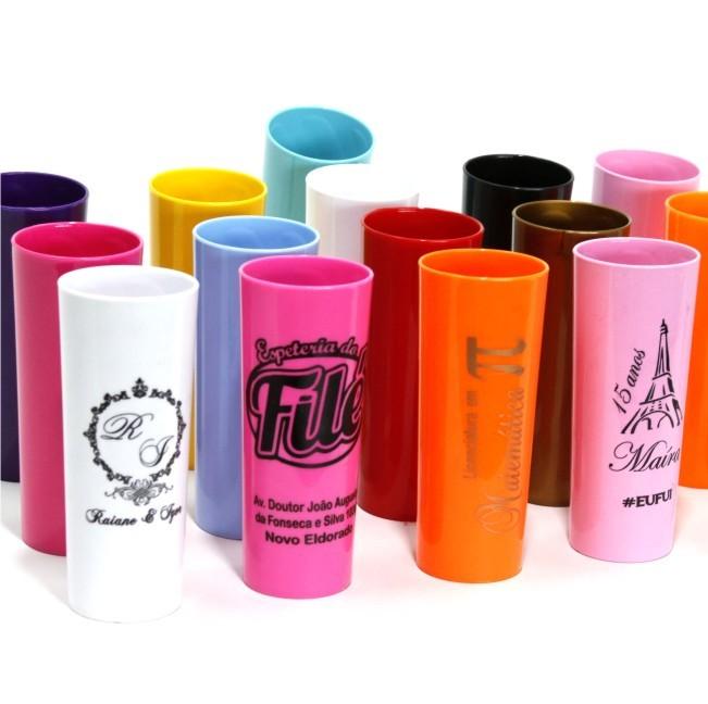 Kit com 30 copos Long Drink acrílico Personalizados para Festas