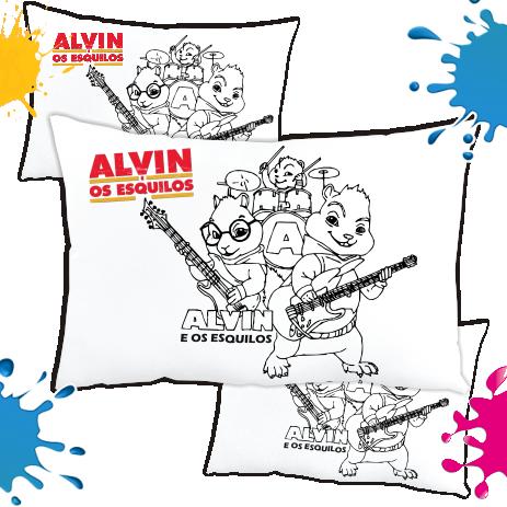 Kit de 10 Almofadas para Colorir e Pintar Personalizada Alvin e os Esquilos