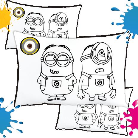 Kit de 10 Almofadas para Colorir e Pintar Personalizada Minions