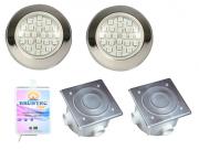 Kit de 2 Refletores Power LED em Inox Até 24m²  para piscina até 7 x 3,30 Brustec