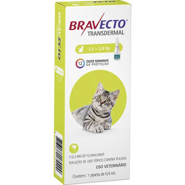 BRAVECTO TRANSDERMAL PARA GATOS 112,5 mg 1,2 A 2,8 kg