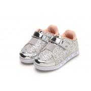 Tênis de Led Infantil Sneaker Luz Princess Glam com Glitter Prata